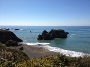 The Pacific Coast near Mendocino, California from Hwy 1 on a clear February day.