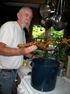 My husband helping to prepare a lobster dinner