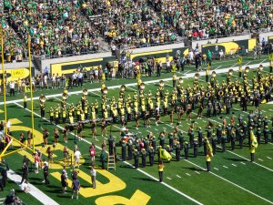 Duck football pre game activities at Autzen Stadium