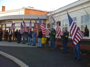 Mourners line the walk at the memorial service for 1st Lt. James R. Zimmerman, a Marine killed in the line of duty in Afghanistan November2, 2010.