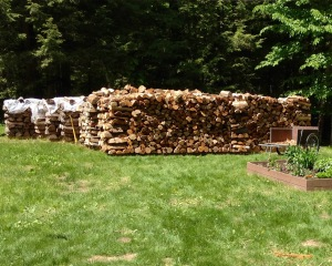 "Nearly nine cords of firewood ""season"" in the back yard ...enough to last for the next three Maine winters."
