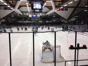 University of Maine hockey players warm up for a recent game at Alfond Arena